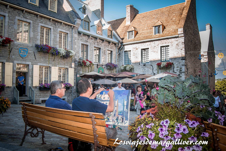 Place Royale donde los pintores se inspiran para sus cuadros en Quebec, que ver en quebec en un día - Los viajes de Margalliver